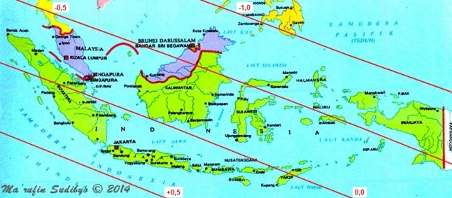 Gambar 3. Peta tinggi Bulan di Indonesia pada Jumat senja 27 Juni 2014. Sumber: Sudibyo, 2014.