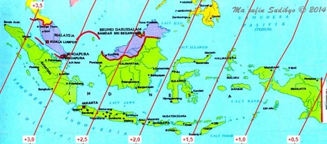Gambar 2. Peta umur Bulan di Indonesia pada Jumat senja 27 Juni 2014. Sumber: Sudibyo, 2014.