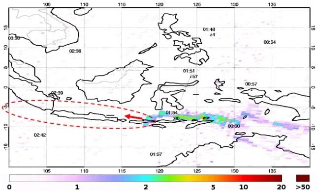 Gambar 8. Sebaran aerosol sulfat letusan Sangeang Api, diabadikan oleh instrumen GOME pada satelit MetOp-A dan MetOp-B pada 1 Juni 2014. Nampak aerosol tersebar jauh hingga mencapai daratan Australia bagian utara, yang memaksa ditutupnya bandara Darwin untuk sementara. Panah merah dan kurva lonjong dengan garis merah putus-putus menunjukkan estimasi bilamana arah angin regional pada saat letusan terjadi menuju ke barat-barat laut, yang bakal membuat pulau Jawa terselimuti debu vulkanik. Sumber: Eumetsat, 2014.