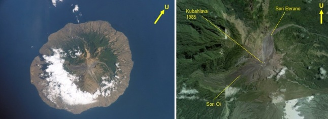 Gambar 2. Kiri: pulau Sangeang (puncak Gunung Sangeang Api) yang impresif di tengah-tengah Laut Flores yang permai, diabadikan oleh astronot pesawat ulang-alik Atlantis saat menjalani misi antariksa STS 112 pada 7 hingga 18 Oktober 2001. Kanan: wajah kawah aktif Doro Api dan lingkungan sekitarnya, diabadikan oleh satelit Quickbird dengan warna nyata pada 2 Oktober 2005 dan kemudian diproses oleh LAPAN. Terlihat kubahlava 1985, yang kini telah jebol/hilang dalam letusan 30 Mei 2014 lalu. Sumber: NASA, 2002; LAPAN, 2014.