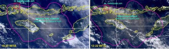 Gambar 6. Panorama sebagian kepulauan Nusa tenggara dalam dua kesempatan berbeda, diabadikan oleh instrumen MODIS pada satelit Terra dan kemudian diproses oleh LAPAN, masing-masing pada 31 Mei 2014 pukul 10:27 WITA dan 13:22 WITA. Pada pukul 10:27 WITA, nampak Gunung Sangeang Api menyemburkan debu vulkanik pekat ke arah tenggara, dengan sebaran debu vulkanik menyelimuti sebagian pulau Sumbawa, hampir seluruh pulau Flores, seluruh pulau Sumba dan Rote serta ujung barat daya pulau Timor. Pada pukul 13:22 WITA, semburan debu vulkanik yang sama sudah tak terpantau, namun luas kawasan yang terselimuti debu vulkanik justru makin membesar. Sumber: LAPAN, 2014.