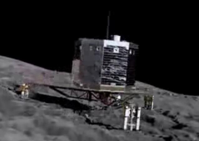 Gambar 3. Simulasi pendaratan Philae di permukaan inti komet Churyumov-Gerasimenko. Pendarat seberat 100 kg ini dilengkapi dengan tiga jangkar di kakinya guna menjaga agar ia tak terpental kembali ke antariksa seiring sangat kecilnya gravitasi inti komet. Dengan terungkapnya bentuk inti komet Churyumov-Gerasimenko, pendaratan Philae menjumpai tantangan baru. Sumber: ESA, 2014.