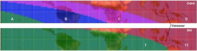 Gambar 5. Perbandingan visibilitas menurut kriteria Odeh dan RHI pada Rabu 7 Agustus 2013 saat Matahari terbenam dalam lingkup global, dibatasi di antara garis lintang 20 LU hingga 20 LS. Pada kriteria Odeh, A = hilaal mudah diamati dengan mata tanpa alat bantu optik, B = hilaal mudah diamati dengan binokular/teleskop dan mungkin bisa diamati dengan mata tanpa alat bantu optik, C = hilaal hanya bisa diamati hilaal dengan binokular/teleskop dan D = hilaal mustahil diamati. Sementara pada kriteria RHI, T = hilaal teramati dengan binokular/teleskop dan mungkin dengan mata tanpa alat bantu optik, TT = hilaal mustahil diamati. Perhatikan kota Makassar, Sulawesi Selatan (Indonesia) berada dalam wilayah hilaal mustahil diamati baik menurut Odeh (wilayah D) maupun RHI (wilayah TT). Namun rukyat pencitraan saat itu secara gemilang berhasil menyajikan citra hilaal. Sumber: Sudibyo, 2014 dengan bantuan software Accurate Hijri Calculator 2.2 dari Abdurro'uf.