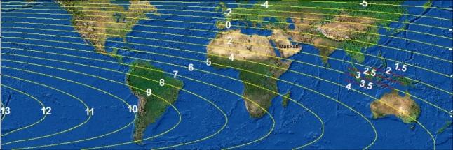 Gambar 3. Peta tinggi Bulan di lingkup global pada Minggu senja 27 Juli 2014. Perhatikan, meski kotasuci Makkah terletak jauh lebih ke barat dibanding Indonesia, faktanya tinggi Bulan di Makkah sama dengan tinggi Bulan di Indonesia (tepatnya di pulau Morotai, Maluku Utara). Sumber: BMKG, 2014.