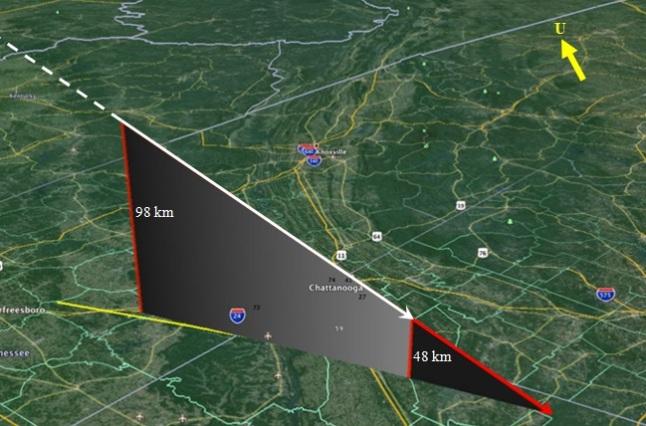 Gambar 2. Rekonstruksi lintasan tiga-dimensi boloid Alabama oleh American Meteor Society berdasarkan laporan para saksi mata. Garis putih tebal putus-putus menandakan saat meteoroid belum berpijar. Garis putih tebal tak terputus adalah saat meteoroid berpijar cemerlang sebagai boloid. Sementara garis merah tak terputus menandakan lintasan sisa-sisa boloid (yang masih bertahan) kala menjalani tahap dark-flight. Sumber: AMS, 2014 dengan label oleh Sudibyo, 2014.