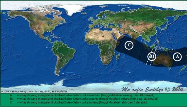 Gambar 2. Peta kawasan umbra untuk peristiwa okultasi Saturnus oleh Bulan pada 4 Agustus 2014 dalam lingkup global. Sumber: Sudibyo, 2014 dengan data dari LunarOccultations.com