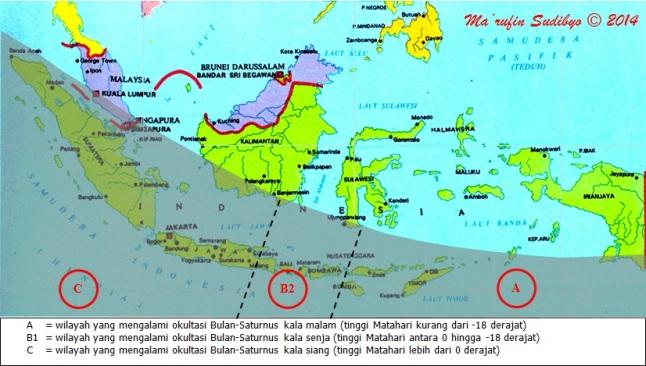 Gambar 3. Peta kawasan umbra untuk peristiwa okultasi Saturnus oleh Bulan pada 4 Agustus 2014 untuk Indonesia. Sumber: Sudibyo, 2014 dengan data dari LunarOccultations.com
