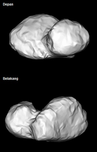 Gambar 2. Wajah inti komet Churyumov-Gerasimenko menurut simulasi komputer badan antariksa Eropa (ESA) berdasarkan citra-citra bidikan kamera OSIRIS dalam rentang waktu antara 14 hingga 24 Juli 2014. Di permukaan inti komet Churyumov-Gerasimenko inilah Rosetta bakal menetapkan lima kandidat lokasi pendaratan di akhir Agustus 2014 dan memutuskan lokasi terpilih dalam 2 minggu kemudian. Sumber: ESA, 2014.