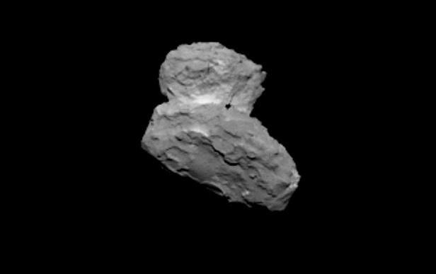 Gambar 1. Wajah inti komet Churyumov-Gerasimenko dari jarak 1.000 km, diabadikan dengan kamera OSIRIS oleh wahana Rosetta pada 2 Agustus 2014. Sumber: ESA, 2014.