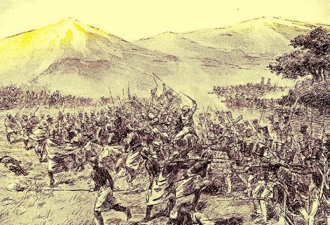 Gambar 2. Pertempuran Nglengkong 30 Juli 1826 dalam sketsa. Pasukan gabungan Kasultanan Yogyakarta dan Belanda berhadapan dengan laskar Diponegoro, yang menghasilkan kemenangan terbesar bagi Pangeran Diponegoro pada saat itu. Sumber: Amangkuratprastono, 2014.