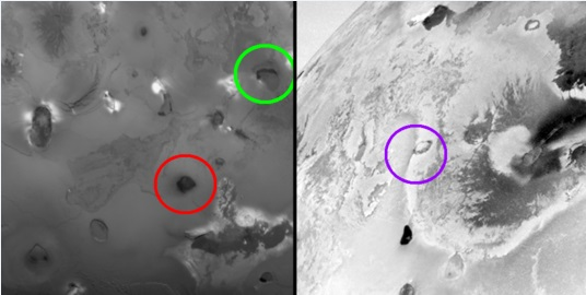 Gambar 5. Citra resolusi rendah terhadap lingkungan tiga gunung berapi yang terlibat dalam trio letusan besar Agustus 2013 diabadikan oleh wahana Voyager 1 (kiri) dan galileo (kanan). Ketiganya adalah Gunung Rarog Patera (lingkaran hijau), Heno Patera (lingkaran merah) dan 201308C (lingkaran ungu). Jelas terlihat bahwa ketiga gunung berapi ini pada dasarnya adalah kaldera. Sumber: NASA, 1979 & 1999.