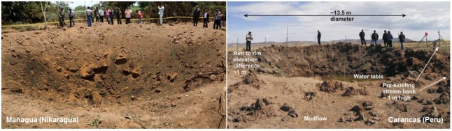 """Gambar 4. Perbandingan antara """"kawah meteor"""" Nikaragua dengan kawah Meteor Carancas (Peru). Cincin kawah setebal 1 meter dan bongkah-bongkah tanah yang kasar nampak menghiasi kawah Carancas, hal yang tak dijumpai di """"kawah"""" Nikaragua. SUmber: Space.com, 2014 & Brown dkk, 2008."""
