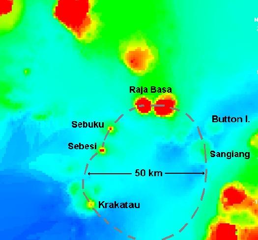Gambar 5. Peta kedalaman dasar Selat Sunda berdasar arsip Angkatan Laut Inggris di era perang Napoleon, dipadukan dengan peta topografi daratan Sumatra dan Jawa. Nampak cekungan nyaris membulat selebar sekitar 50 km yang diduga adalah kaldera raksasa produk Letusan Krakatau Purba. Sumber: Wohletz, 2000.