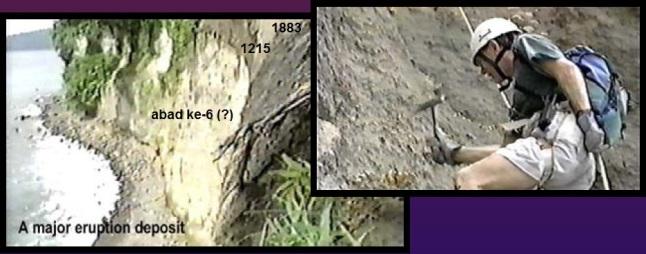 Gambar 2. Kiri: singkapan lapisan-lapisan debu tebal produk letusan dahsyat pada terbing terjal di salah satu sudut Kepulauan Krakatau. Nampak lapisan debu setebal 25 meter yang diduga merupakan produk letusan sangat dahsyat di abad ke-6. Kanan: vulkanolog Haraldur Sigurdsson nampak sedang menuruni tebing terjal itu guna menyelidiki lebih lanjut. Sumber: Wohletz, 2000.