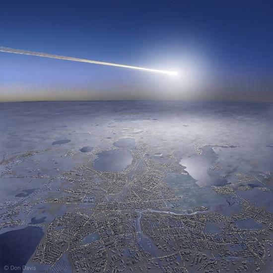 Gambar 3. Gambaran seniman tentang bagaimana sebongkah meteoroid memasuki atmosfer Bumi dan berpijar sebagai boloid untuk kemudian berujung pada peristiwa airburst. Jika meteoroidnya cukup besar, energi yang dilepaskan airburst-nya pun cukup besar sehingga gelombang kejut yang diproduksinya bisa menghasilkan kerusakan di permukaan Bumi. Hal seperti itulah yang terjadi dalam Peristiwa Chelyabinsk 15 Februari 2013. Sumber: Don Davis dalam Space.com, 2014.