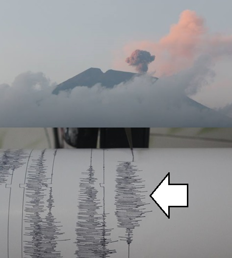 Gambar 6. Contoh gempa letusan Gunung Slamet yang terekam di pos pengamatan Gambuhan pada 25 Agustus 2014 pukul 05:50 WIB. Kala kepulan asap berwana abu-abu/gelap menyeruak dari kawah aktif di puncak gunung, pada saat yang sama seismometer analog di pos merekam getarannya (tanda panah). Sumber: PVMBG, 2014.