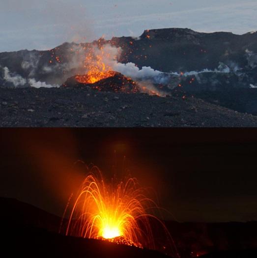 Gambar 7. Dua wajah kawah Gunung Slamet saat ini berdasarkan observasi lapangan 26 Agustus 2014. Baik di kala malam maupun siang hari, gundukan material baru yang mengerucut nampak jelas berada di dalam kawah aktif. Di pucuk gundukan material ini nampak ujung dari lubang letusan. Belum jelas status gundukan ini apakah sekedar tumpukan material letusan ataukah kubah lava. Sumber: Aris Yanto, 2014.