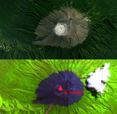 Gambar 8. Citra satelit sumberdaya Bumi SPOT sebelum Letusan Slamet 2014 dalam warna natural (atas) dan Landsat-8 OLI pada 30 Agustus 2014 dalam warna komposit RGB (bawah). Nampak jelas adanya perubahan dalam kawah aktif Gunung Slamet, dari semula berbentuk cekung saja (atas) menjadi berhias gundukan (bawah) yang ditebari warna kemerahan, yang adalah jejak panas dari lava pijar. Sumber: LAPAN, 2014.