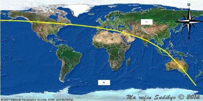 Gambar 5. Peta tinggi Bulan di segenap permukaan Bumi pada saat Matahari terbenam Rabu 24 September 2014. Garis kuning menunjukkan garis nol (garis dimana tinggi Bulan sama dengan nol derajat). Selain membelah Indonesia, garis nol juga sedikit memotong wilayah Saudi Arabia. Di sebelah barat garis nol ini semua lokasi memiliki tinggi Bulan positif (+), sementara di timurnya memiliki tinggi Bulan negatif (-). Sumber: Sudibyo, 2014.