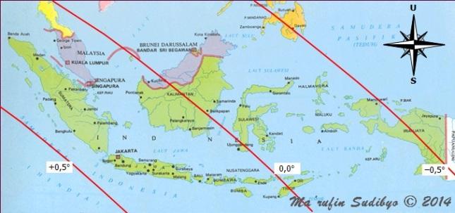 Gambar 2. Peta tinggi Bulan di Indonesia pada saat Matahari terbenam Rabu 24 September 2014. Nampak bahwa Indonesia dibelah oleh garis nol (garis yang menunjukkan tinggi Bulan sama dengan nol derajat). Sumber: Sudibyo, 2014.