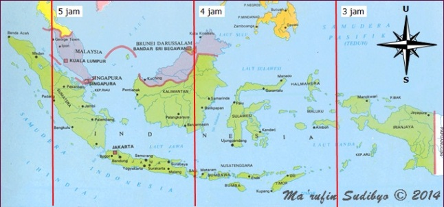 Gambar 3. Peta umur Bulan (selisih antara saat konjungsi Bulan-Matahari geosentris dengan terbenamnya Matahari setempat) di Indonesia pada saat Matahari terbenam Rabu 24 September 2014. Sumber: Sudibyo, 2014.