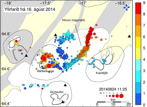 Gambar 3. Plot episentrum gempa-gempa vulkanik di sekitar Gunung Bardarbunga beserta kedalamannya dalam periode antara 16 hingga 24 Agustus 2014. Nampak episentrum berkerumun di sebuah garis irregular sepanjang sekitar 40 kilometer yang menjulur ke timur laut dari Gunung Bardarbunga. Inilah pertanda terbentuknya pematang instrusi magmatik sebagai tempat dimana amagma berakumulasi tepat sebelum keluar ke permukaan Bumi. Tanda bintang (*) adalah tempat terbentuknya retakan yang selanjutnya menjadi pusat letusan Holuhraun mulai 29 Agustus 2014. Sumber: Icelandic Meteorological Office, 2014.
