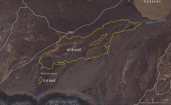 Gambar 4. Sebaran lava basaltik letusan Holuhraun hingga 1 Oktober 2014. Lava telah menutupi area seluas 48,2 kilometer persegi dengan panjang sekitar 16 kilometer. Volume magma yang diletuskan hingga 1 Oktober 2014 telah sekitar 650 juta meter kubik. Tak ada tanda-tanda aktivitas letusan mulai menyurut. Sumber: University of Iceland, 2014.