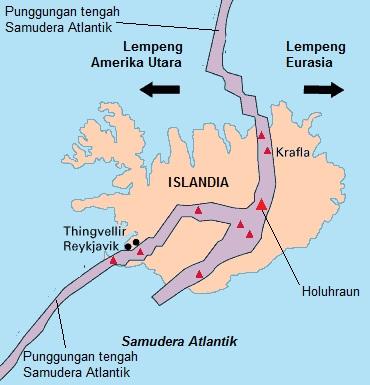Gambar 2. Islandia dalam peta sederhana, yang menunjukkan posisinya persis di punggungan tengah Samudera Atlantik. Sumber: USGS, 2014.