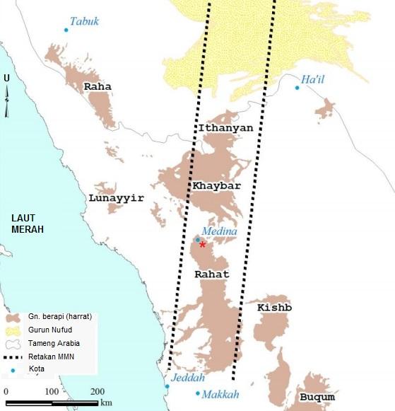 Gambar 9. Peta Semenanjung Arabia bagian barat khususnya kawasan Hijaz. Nampak gunung-gemunung berapi Arabia (harrat) dengan yang terbesar adalah Harrat Rahat. Praktis kotasuci Makkah dan Madinah berdiri di tubir gunung berapi raksasa ini. Tanda bintang (*) menunjukkan lokasi Letusan Madinah 1256. Aktivitas terakhir gunung-gemunung berapi ini adalah di Harrat Lunayyir, 200 kilometer barat laut kotasuci Madinah. Sumber: Zahrani dkk, 2013.