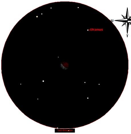 Gambar 6. Bulan dan lingkungan sekitarnya tepat setelah akhir totalitas gerhana, disimulasikan dengan Starry Night Backyard v 3.0 untuk Kebumen (Jawa Tengah). Planet Uranus nampak di sisi kanan atas Bulan. Sumber: Sudibyo, 2014.
