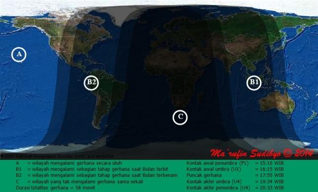Gambar 2. Peta wilayah Gerhana Bulan Total 8 Oktober 2014 secara global. Sumber: Sudibyo, 2014.