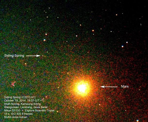 Gambar 5. Komet Siding-Spring dan planet Mars sebagai hasil observasi percobaan pertama, disajikan dalam warna nyata. Sumber: Imah Noong, 2014.