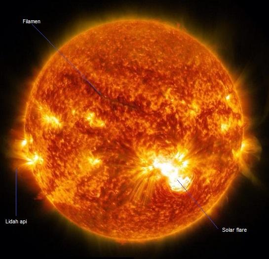 Gambar 5. Saat-saat bintik Matahari AR 2192 melepaskan solar flare ketiganya (kelas X3) pada 25 Oktober 2014 TU waktu Indonesia. Solar flare terlihat mirip kobaran api raksasa yang sedang menyembul dari permukaan Matahari. Meski melepaskan solar flare besar, namun sejauh ini tidak diikuti dengan pelucutan massa korona sehingga tidak terjadi badai Matahari. Diabadikan oleh satelit pemantau Matahari SDO (Solar Dynamics Observatory). Sumber: NASA, 2014.