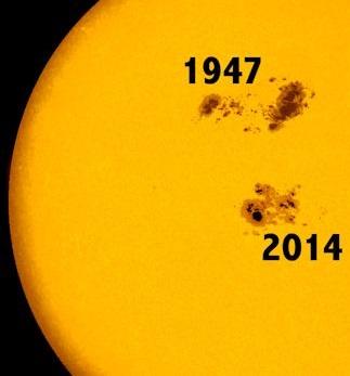 Gambar 6. Perbandingan ukuran bintik Matahari superjumbo 3 April 1947 dengan bintik Matahari AR 2192 (2014). Dibanding AR 2192, bintik Matahari superjumbo 1947 adalah 2,3 kali lipat lebih besar. Sumber: Spaceweather.com, 2014.