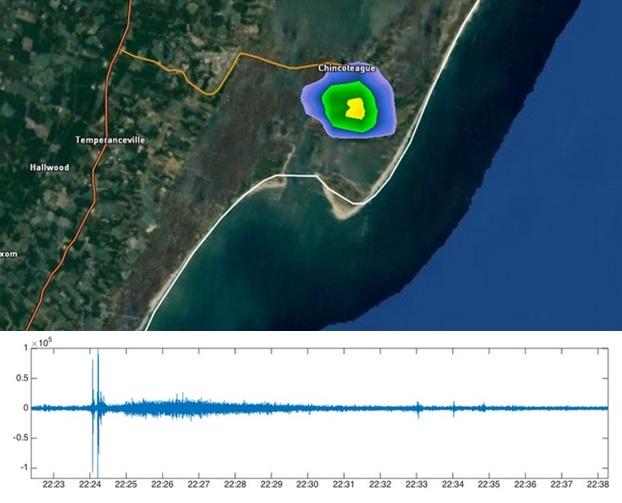 Gambar 3. Dahsyatnya bencana Antares terlihat dari bagaimana gumpalan asap pekatnya terekam dalam radar cuaca (atas) sementara gemuruh ledakannya dalam gelombang infrasonik terekam oleh radas mikrobarometer di stasiun sejauh 25 kilometer dari landaspacu (bawah). Sumber: Matt Daniel, 2014 & IRIS, 2014.