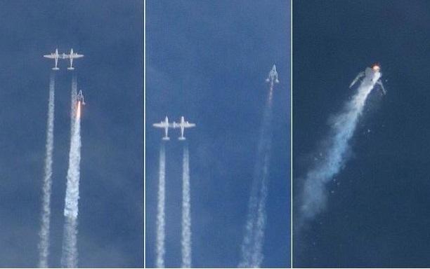 Gambar 4. Detik-detik bencana SpaceShipTwo. Kiri: pesawat ulang-alik sub-orbital SpaceShipTwo (VSS Enterprise) mulai menyalakan mesin roketnya setelah melepaskan diri dari pesawat induk WhiteKnightTwo (VSS Eve). Tengah: Mesin roket mulai tersendat dan mati. Kanan: ledakan yang menghancurkan VSS Enterprise di udara setelah mesin roket dinyalakan ulang kembali. Sumber: Leila Pontes, 2014.