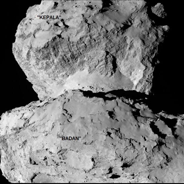Gambar 7. Wajah intikomet Churyumov-Gerasimenko dari dekat khususnya pada kawasan 'leher'-nya, diabadikan oleh wahana Rosetta dengan radas kamera Osiris yang beresolusi tinggi. Nampak tebing curam dengan garis-garis paralel membatasi 'kepala' dengan 'leher.' Garis-garis tersebut adalah retakan dan diduga merupakan kekar kolom. Didasarnya terdapat kolam-kolam material yang mengesankan menyerupai tumpukan sedimen gunung lumpur (mud volcano) di Bumi. Sumber: ESA, 2014.