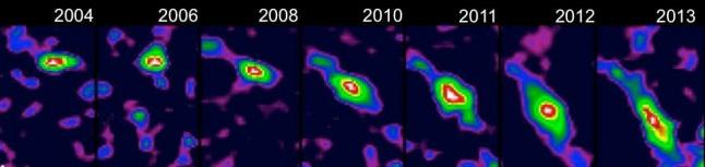 Gambar 6. Bagaimana awan gas G2 berubah bentuk secara perlahan dari tahun ke tahun begitu kian mendekati Sgr A* dalam satu dekade terakhir. Nampak awan gas terlihat semakin mulur begitu kian mendekati titik perinigricon-nya terhadap lubang hitam raksasa. Namun ajaibnya, setelah melintasi titik perinigricon-nya awan gas G2 justru tetap ada dan relatif utuh. Sumber: Max Planck Institute for Extraterrestrial Physics, 2014.