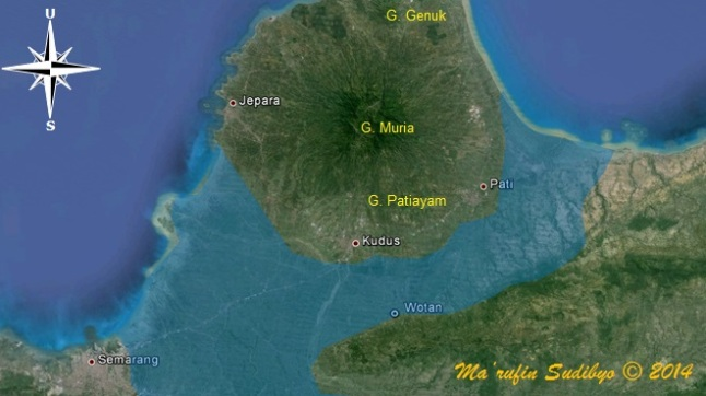 Gambar 3. Selat Muria (warna biru muda) pada masa 1.500 tahun silam. Nampak selat ini membentang luas di antara Semarang hingga Pati, sekaligus memisahkan pulau Jawa dengan kompleks Gunung Muria (pulau Muria). Lokasi semburan lumpur Pati di desa Wotan berada di pesisir selat ini. Sumber: Sudibyo, 2014 dengan basis Google Earth dan data dari Noerwidi, 2002.