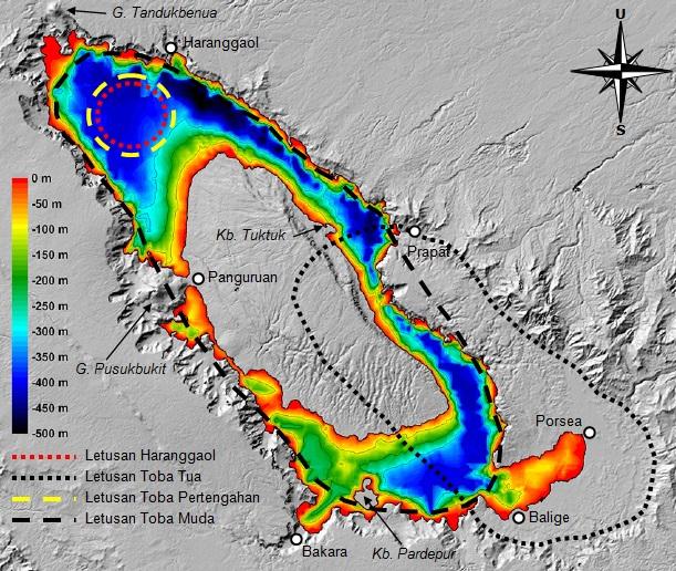 Gambar 3. Topografi Danau Toba dan lingkungan sekelilingnya beserta kedalaman perairannya. Tersaji pula lubang-lubang letusan yang dibentuk oleh keempat letusan sangat dahsyat Gunung Toba di masa silam. Sumber: Chesner, 2011 dengan labelisasi oleh Sudibyo, 2014.