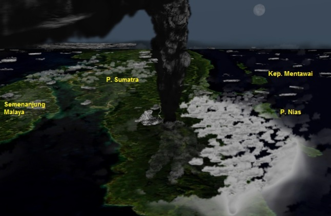 Gambar 6. Ilustrasi saat-saat Gunung Toba meletus dengan dahsyatnya di hari pertamanya pada 74.000 tahun silam, yang menghembuskan debu vulkanik hingga setinggi 70 kilometer dpl sembari menghempaskan awan panas ke segenap Sumatra bagian utara. Arah pandang adalah ke tenggara. Sumber: Anynobody, 2009 dalam Wikipedia, 2009.