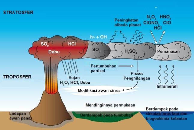 Gambar 7. Bagaimana letusan dahsyat gunung berapi berdampak ke lingkungan sekitar dengan memicu musim dingin vulkanik dalam lingkup regional hingga global. Sumber: Max Planck Institute fur Meteorologie, 2014 dengan labelisasi oleh Sudibyo, 2014.