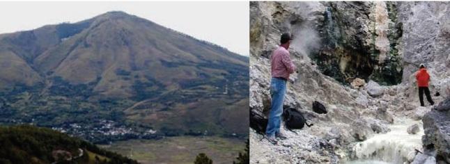 Gambar 9. Panorama Gunung Pusukbukit (kiri), salah satu gunung berapi yang terbentuk jauh hari setelah Letusan Toba Muda, tepatnya kala kantung magma raksasa Gunung Toba mulai terisi kembali. Ada beberapa titik fumarol di gunung ini, salah satunya di lereng utaranya (kanan). Sumber: Sutawidjaja, 2008 dalam Warta Geologi, 2008.