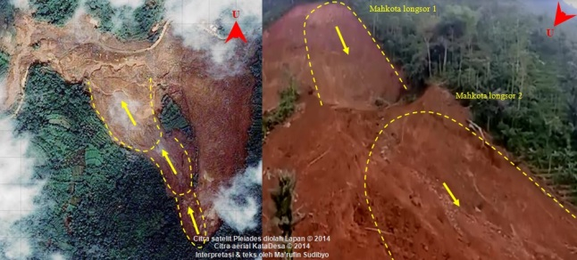 Gambar 4. Perkiraan batas luncuran tanah sisi barat dalam bencana longsor dahsyat Jemblung (Sampang) 2014 dalam citra satelit Pleiades pada kanal cahaya tampak (kiri) dan citra aerial PUNA/drone (kanan). Kemungkinan terjadi tiga kali pergerakan tanah secara berantai, dari lereng yang lebih tinggi ke lereng yang lebih rendah dengan luasan kian membesar. Perkiraan batas masing pergerakan tanah diperlihatkan oleh garis kuning putus-putus, sementara arah masing-masing gerakan tanah oleh tanda panah. Sumber: LAPAN, 2014 & KataDesa, 2014 dengan teks oleh Sudibyo, 2014.