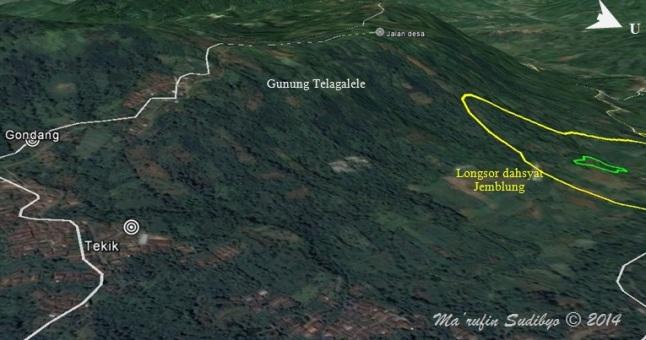 Gambar 7. Tiga titik retak baru di Gunung Telagalele, desa Sampang (Banjarnegara), tak jauh dari lokasi longsor dahsyat Jemblung (Sampang) 2014. Ketiga titik retak baru ini harus dicermati lebih lanjut ke depan sebagai titik-titik yang rawan longsor. Sumber: Sudibyo, 2014 berbasis Google Earth dan data dari KataDesa, 2014.