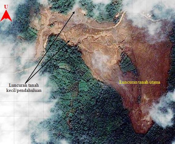 Gambar 2. Citra satelit Pleiades lokasi bencana longsor dahsyat Jemblung (Sampang) 2014 beserta lokasi luncuran tanah utama yang berskala besar dan dua luncuran tanah berskala kecil yang menduluinya. Sumber: LAPAN, 2014.