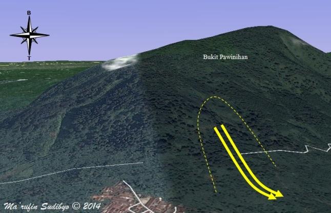 Gambar 7. Bagaimana bencana tanah longsor dahsyat Gunungraja (Sijeruk) 2006 terjadi, dalam ilustrasi berbasis citra Google Earth. Saat lereng timur Bukit Pawinihan merosot dengan tipe rotasional (panah kuning)materialnya segera meloncat dan mengubur dusun Gunungraja. 90 orang tewas dan 76 jasad yang berhasil dievakuasi. Sumber: Sudibyo, 2014 dengan basis Google Earth dan data dari Sutopo & Wilonoyudho, 2006.