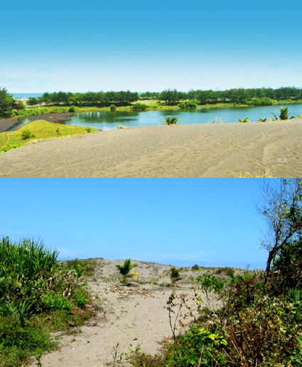 Gambar 1. Pantai berlaguna Lembupurwo (atas) dan pantai berbukit pasir Karanggadung/Petanahan (bawah). Dua pantai tersebut merepresentasikan pantai dataran rendah di Kabupaten Kebumen. Sumber: LintasKebumen, 2014 & Sudibyo, 2006.