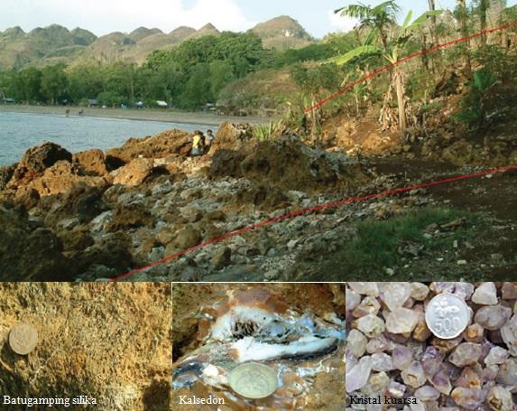Gambar 9. Salah satu lokasi dimana batu gamping terumbu diubah menjadi silika, di dekat pantai Logending (atas). Selain batu gamping berisi silika dengan urat-urat kuarsa yang mengandung emas, di sini terdapat juga kalsedon dan kristal-kristal kuarsa (bawah). Semuanya merupakan petunjuk pernah ada sebuah gunung berapi purba di kawasan ini. Sumber: Suprapto, 2010.