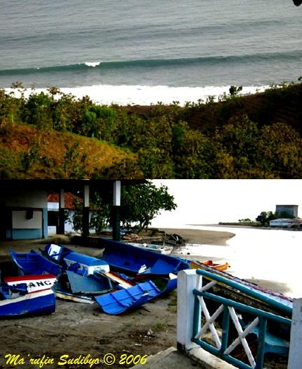 Gambar 3. Ombak memecah jelang tiba di pantai Menganti, diabadikan dari pucuk tebing terjal di belakang pantai (atas) dan wajah sebagian kecil pantai Logending di sekitar muara sungainya diabadikan dari lokasi tempat pelelangan ikan (TPI) Logending pasca bencana tsunami 2006 (bawah). Sumber: Sudibyo, 2006.